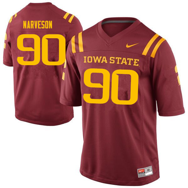 Men #90 Brayden Narveson Iowa State Cyclones College Football Jerseys Sale-Cardinal