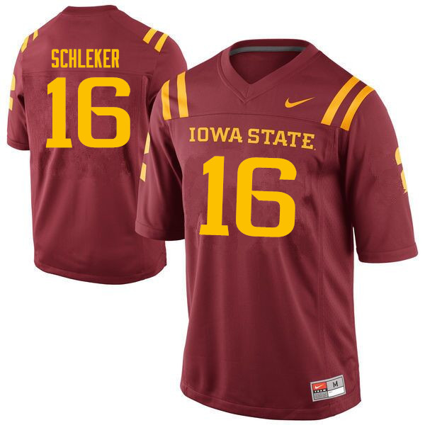 Men #16 Carson Schleker Iowa State Cyclones College Football Jerseys Sale-Cardinal