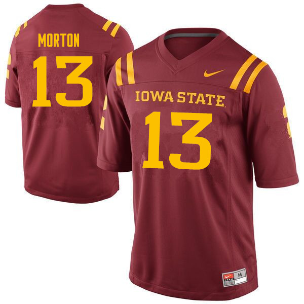 Men #13 Jaeveyon Morton Iowa State Cyclones College Football Jerseys Sale-Cardinal
