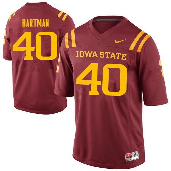 Men #40 Morgan Bartman Iowa State Cyclones College Football Jerseys Sale-Cardinal