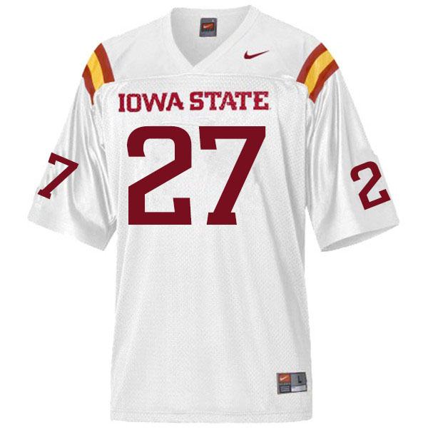Men #27 Amechie Walker Iowa State Cyclones College Football Jerseys Sale-White