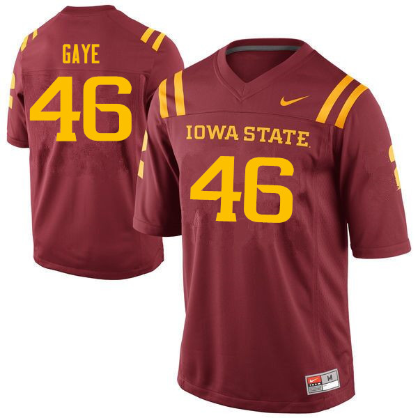 Men #46 Answer Gaye Iowa State Cyclones College Football Jerseys Sale-Cardinal