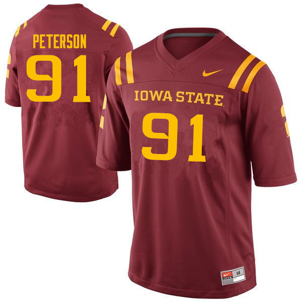 Men #91 Blake Peterson Iowa State Cyclones College Football Jerseys Sale-Cardinal