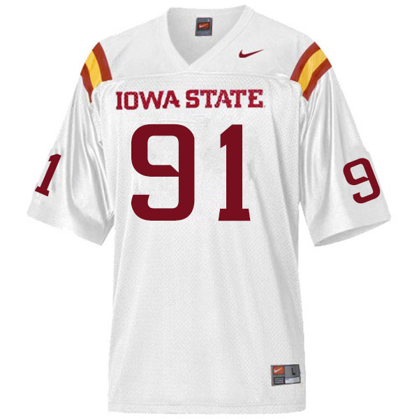 Men #91 Blake Peterson Iowa State Cyclones College Football Jerseys Sale-White