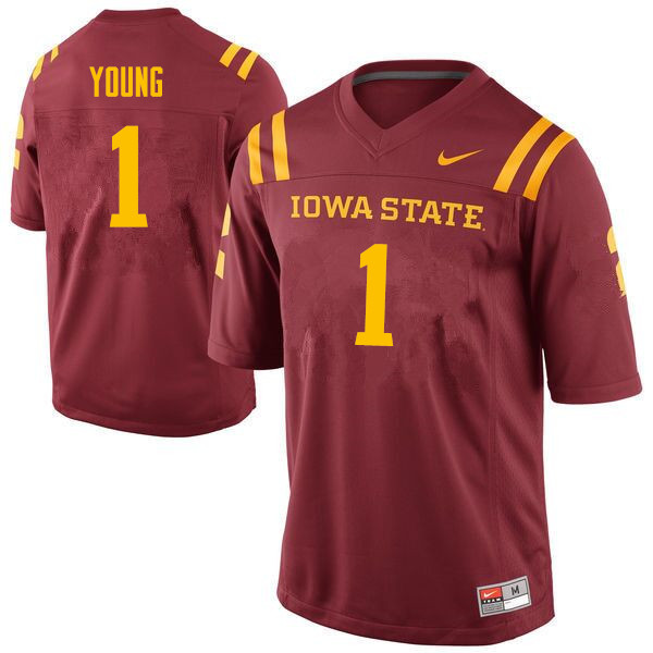 Men #1 Datrone Young Iowa State Cyclones College Football Jerseys Sale-Cardinal