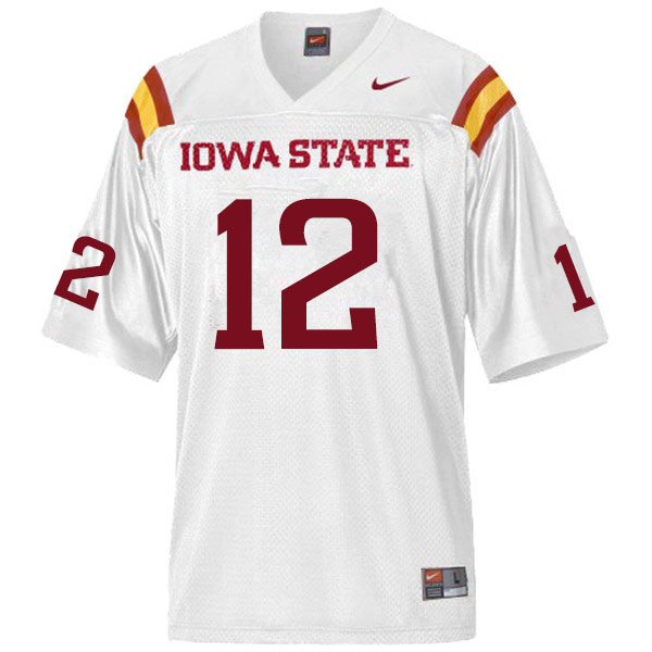 Men #12 Easton Dean Iowa State Cyclones College Football Jerseys Sale-White
