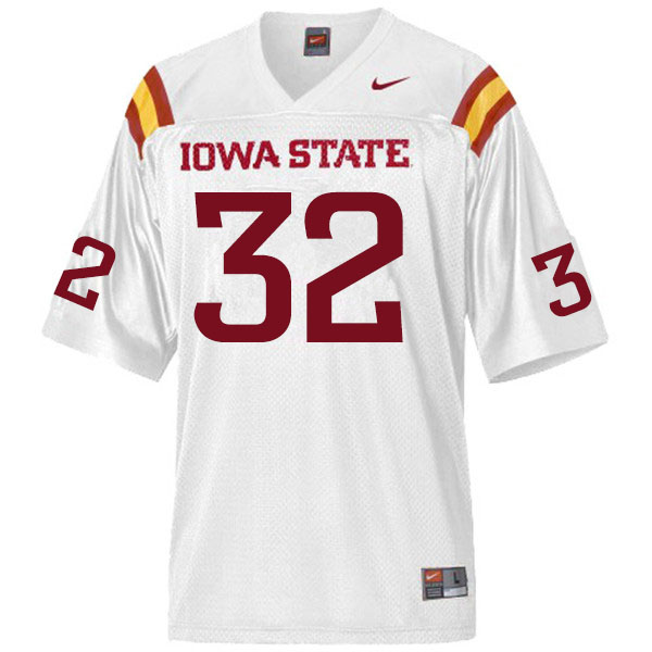 Men #32 Gerry Vaughn Iowa State Cyclones College Football Jerseys Sale-White