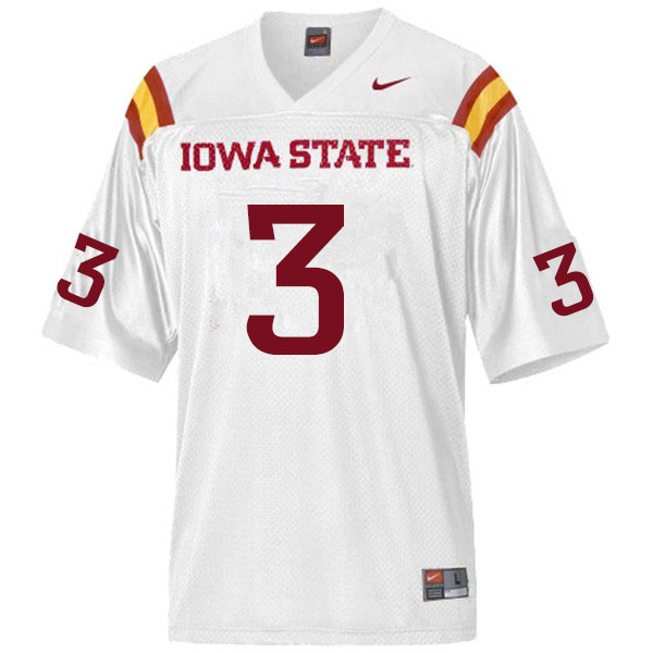 Men #3 JaQuan Bailey Iowa State Cyclones College Football Jerseys Sale-White