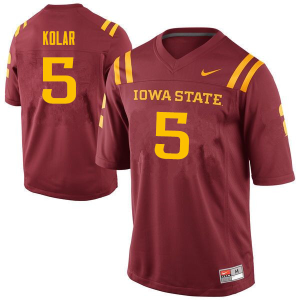 Men #5 John Kolar Iowa State Cyclones College Football Jerseys Sale-Cardinal