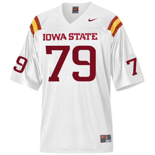 Men #79 Mason Skovgard Iowa State Cyclones College Football Jerseys Sale-White