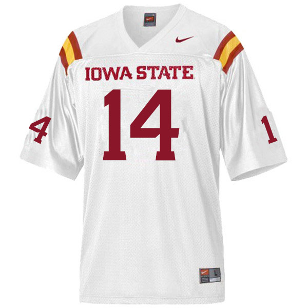 Men #14 Aidan Bouman Iowa State Cyclones College Football Jerseys Sale-White