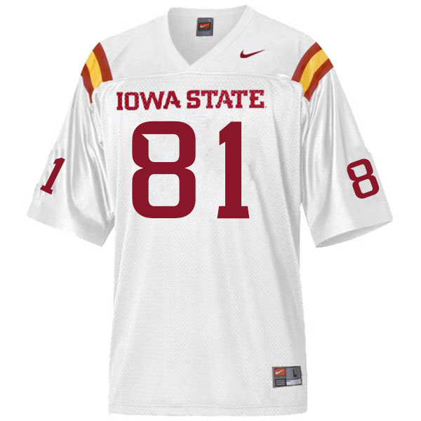 Men #81 D'Shayne James Iowa State Cyclones College Football Jerseys Sale-White