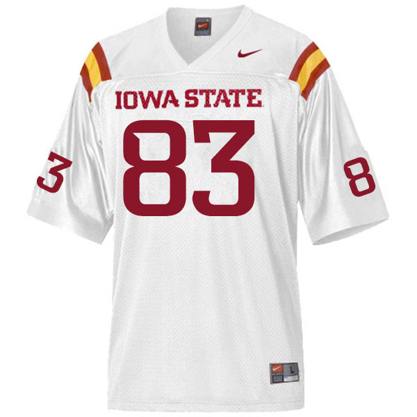 Men #83 DeShawn Hanika Iowa State Cyclones College Football Jerseys Sale-White