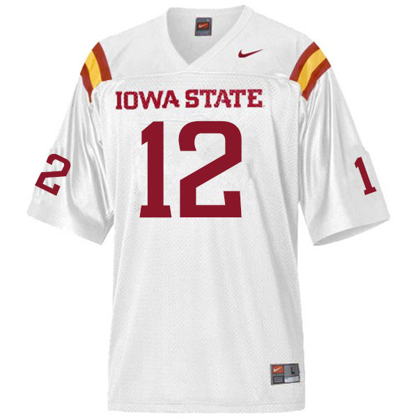 Men #12 Greg Eisworth II Iowa State Cyclones College Football Jerseys Sale-White