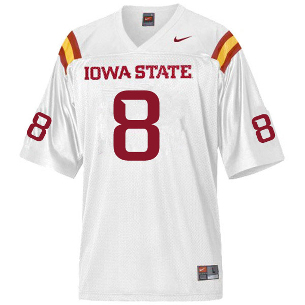 Men #8 Greg Ross Jr. Iowa State Cyclones College Football Jerseys Sale-White