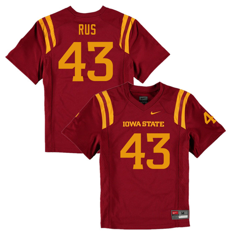 Men #43 Jared Rus Iowa State Cyclones College Football Jerseys Sale-Cardinal
