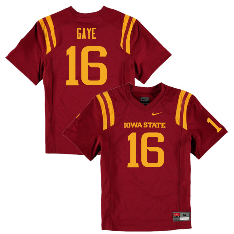 Men #16 Answer Gaye Iowa State Cyclones College Football Jerseys Sale-Cardinal