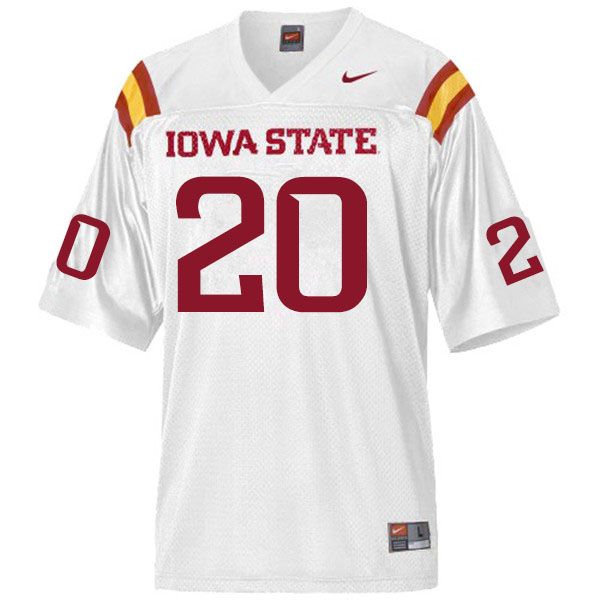 Men #20 Aric Horne Iowa State Cyclones College Football Jerseys Sale-White