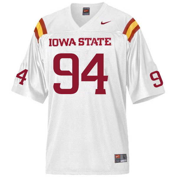 Men #94 Cameron Shook Iowa State Cyclones College Football Jerseys Sale-White
