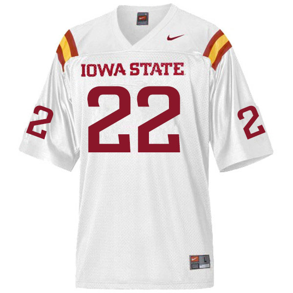 Men #22 Coal Flansburg Iowa State Cyclones College Football Jerseys Sale-White
