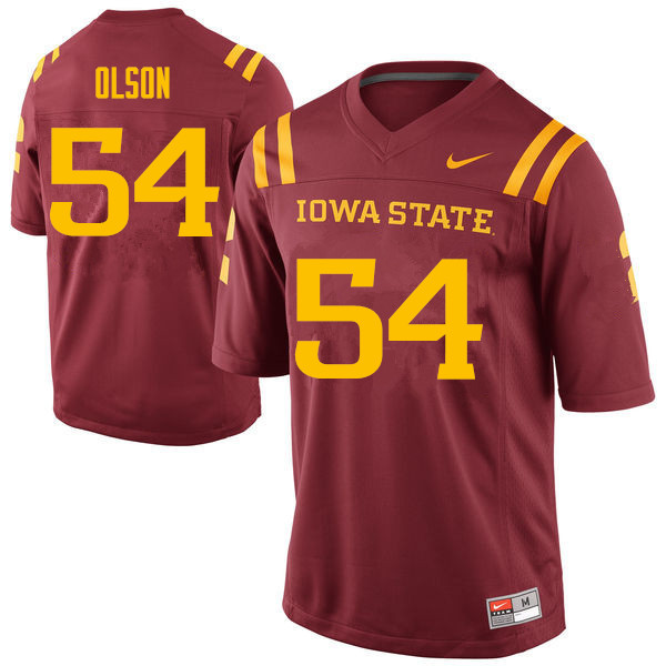 Men #54 Collin Olson Iowa State Cyclones College Football Jerseys Sale-Cardinal