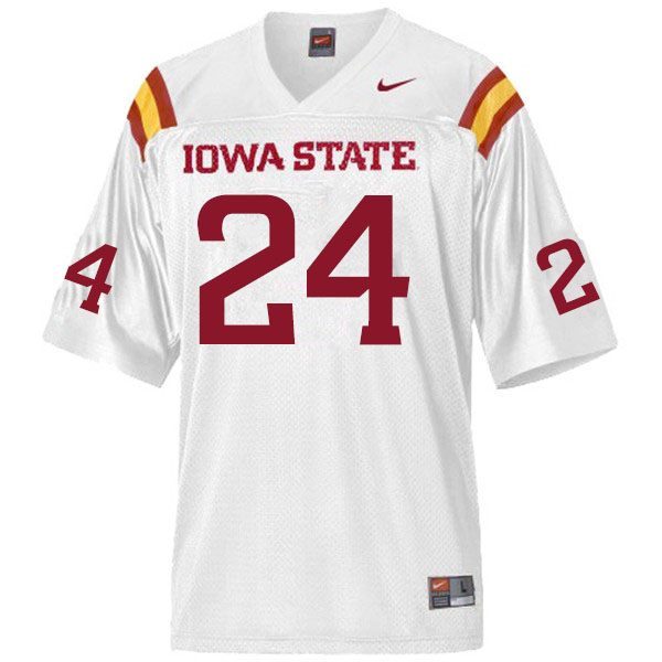 Men #24 D.J. Miller Iowa State Cyclones College Football Jerseys Sale-White