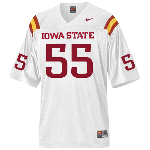 Men #55 Darrell Simmons Iowa State Cyclones College Football Jerseys Sale-White