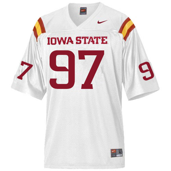Men #97 Drake Nettles Iowa State Cyclones College Football Jerseys Sale-White