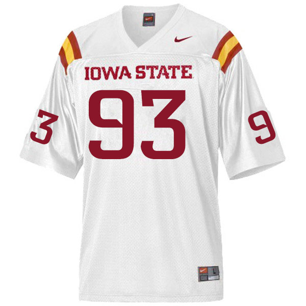 Men #93 Eddie Ogamba Iowa State Cyclones College Football Jerseys Sale-White