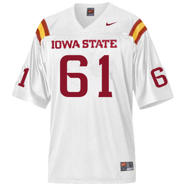 Men #61 Evan Kilstrom Iowa State Cyclones College Football Jerseys Sale-White
