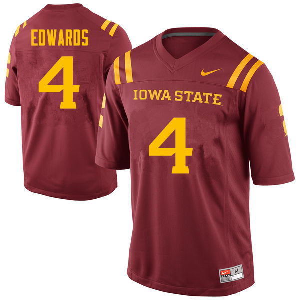 Men #4 Evrett Edwards Iowa State Cyclones College Football Jerseys Sale-Cardinal