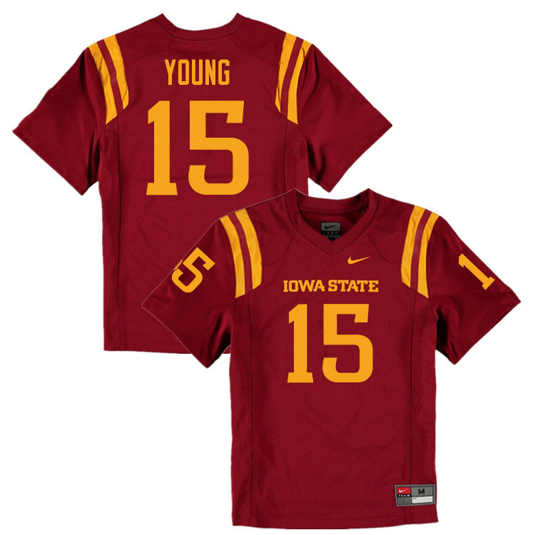 Men #15 Isheem Young Iowa State Cyclones College Football Jerseys Sale-Cardinal