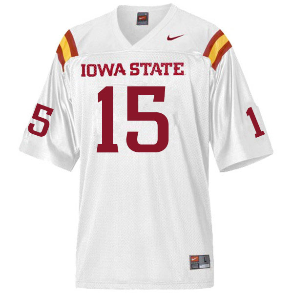 Men #15 Isheem Young Iowa State Cyclones College Football Jerseys Sale-White