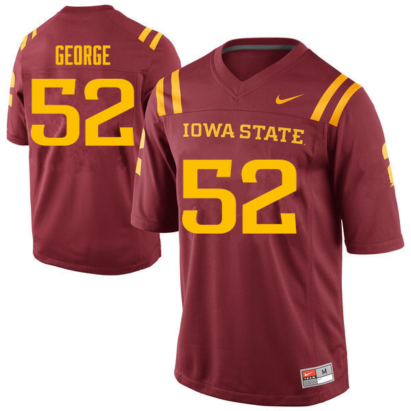 Men #52 Jeremiah George Iowa State Cyclones College Football Jerseys Sale-Cardinal