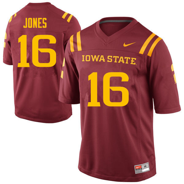 Men #16 Keontae Jones Iowa State Cyclones College Football Jerseys Sale-Cardinal