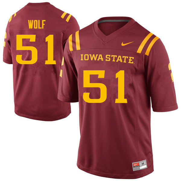 Men #51 Logan Wolf Iowa State Cyclones College Football Jerseys Sale-Cardinal