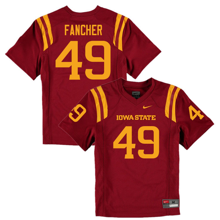 Men #49 Trey Fancher Iowa State Cyclones College Football Jerseys Sale-Cardinal