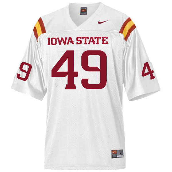 Men #49 Trey Fancher Iowa State Cyclones College Football Jerseys Sale-White