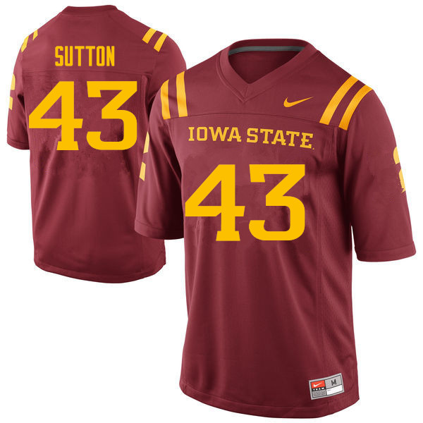 Men #43 Tymar Sutton Iowa State Cyclones College Football Jerseys Sale-Cardinal