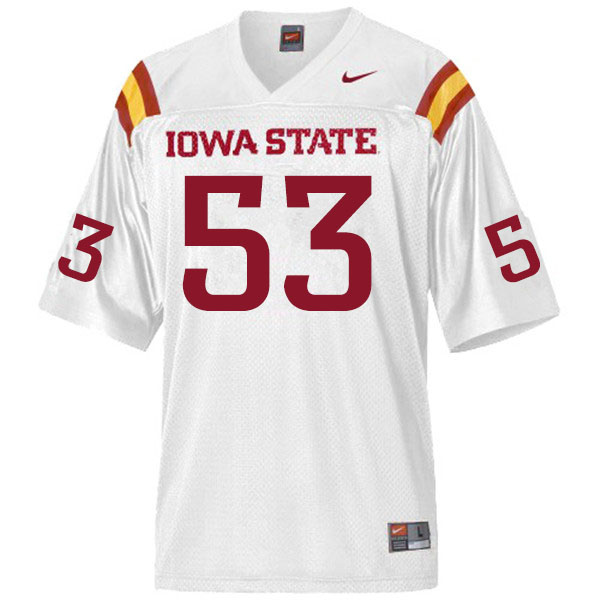 Men #53 Will Clapper Iowa State Cyclones College Football Jerseys Sale-White