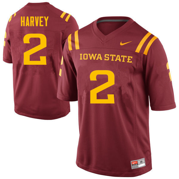 Men #2 Willie Harvey Iowa State Cyclones College Football Jerseys Sale-Cardinal