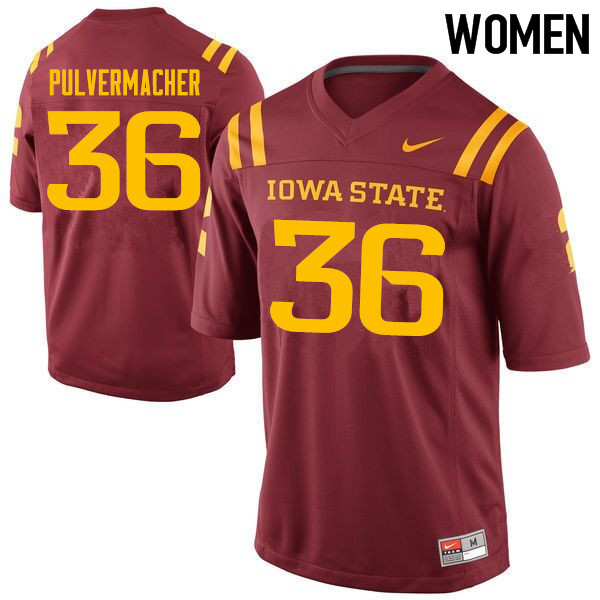 Women #36 Chandler Pulvermacher Iowa State Cyclones College Football Jerseys Sale-Cardinal