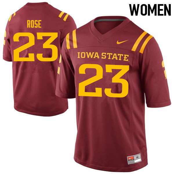 Women #23 Mike Rose Iowa State Cyclones College Football Jerseys Sale-Cardinal