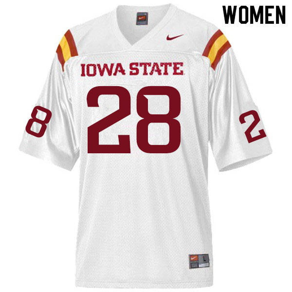Women #28 Breece Hall Iowa State Cyclones College Football Jerseys Sale-White