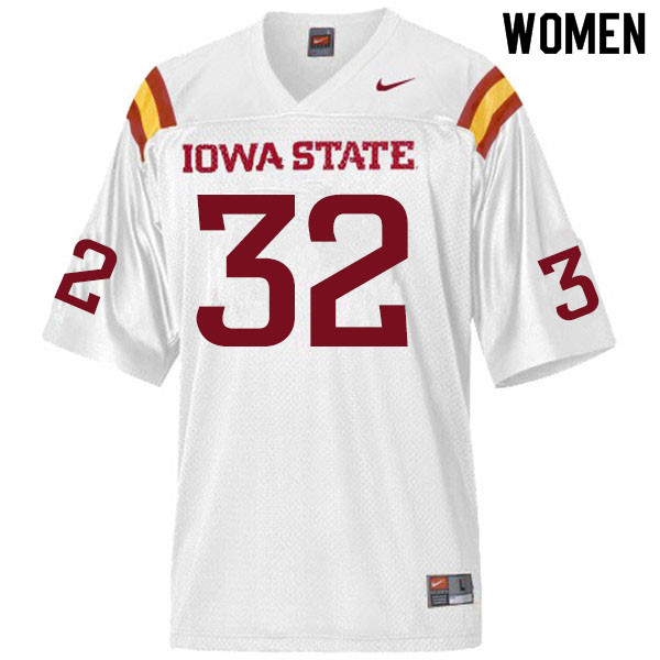 Women #32 Gerry Vaughn Iowa State Cyclones College Football Jerseys Sale-White