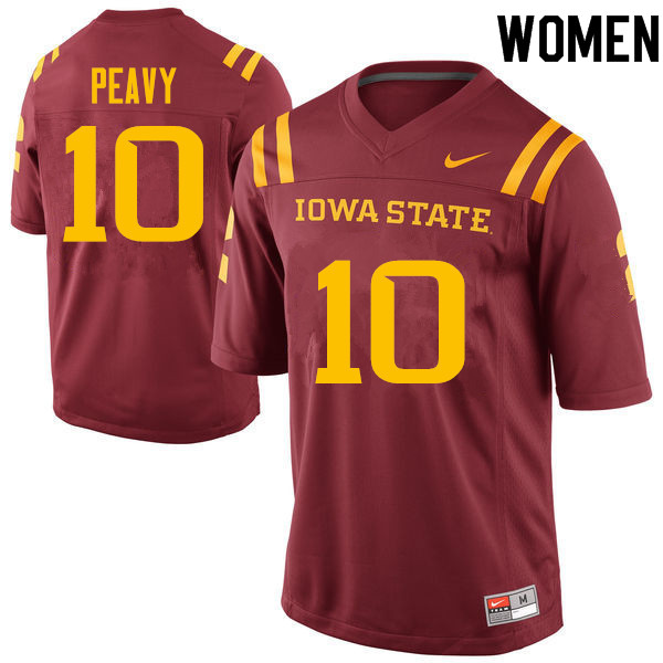 Women #10 Brian Peavy Iowa State Cyclones College Football Jerseys Sale-Cardinal