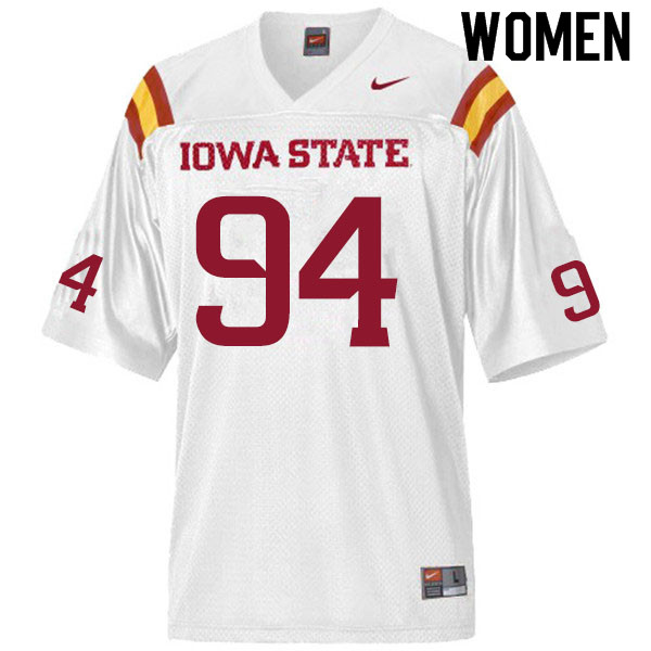 Women #94 Cameron Shook Iowa State Cyclones College Football Jerseys Sale-White