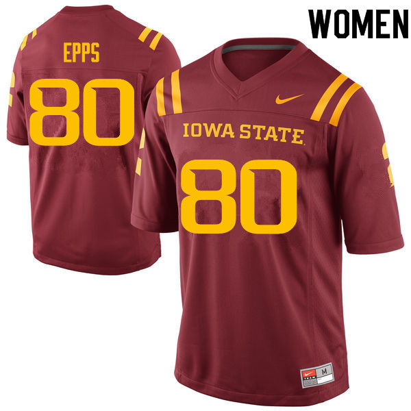 Women #80 Carson Epps Iowa State Cyclones College Football Jerseys Sale-Cardinal