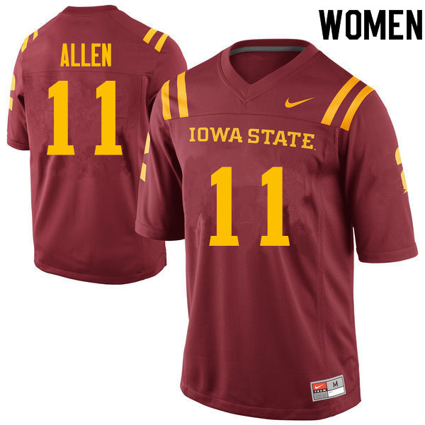Women #11 Chase Allen Iowa State Cyclones College Football Jerseys Sale-Cardinal