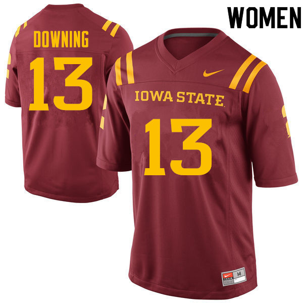 Women #13 Colin Downing Iowa State Cyclones College Football Jerseys Sale-Cardinal